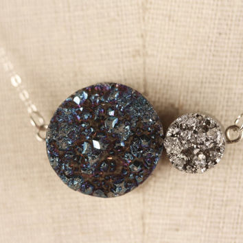 Cobalt Blue and Silver Drusy Agate Nugget Necklace, Sterling Silver, Small and Large Round Druzy, Dark, Royal, Metallic Stone, Earrings Set