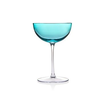 Rondo Sea Blue Glass Stemmed Cups, Goblets & Coupes