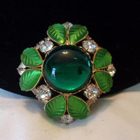 Hobe Vintage Estate Maltese Cross Green Glass Rhinestone Gold Plate Pin