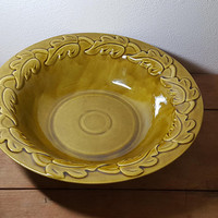 California Pottery Bowl Calif USA 676 Large Leaf Pattern Olive Gold Vintage Mid Century