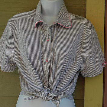 Vintage 80s Pappagallo Pink Piped Seersucker Shirt Top Blouse Size Medium