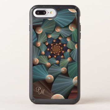Modern Fractal Art Brown, Slate, Blue Monogram Speck iPhone Case