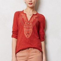 Chennai Henley by Meadow Rue Dark Orange S Tops