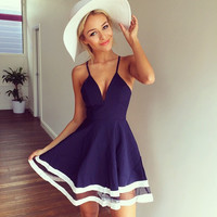 Sleeveless V-Neck with Mesh Stripe Skater Dress