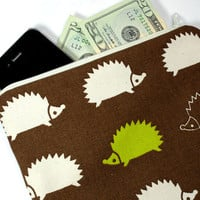 Pencil Bag - Cosmetic Pouch made from Hedgehog Print Japanese fabric - Zippered bag