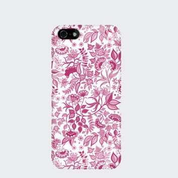 Pink Floral Flower iPhone Case 6, 6s, 6 Plus, 6s Plus, 5s, 5c, 4s. Pretty girly girlfriend gift Designed by Johanna Basford