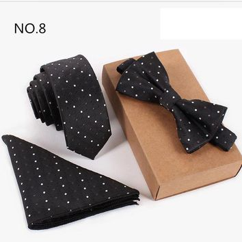3 Piece Slim Men Tie, Bow Tie and Handkerchief Set - Black with White Polka Dots