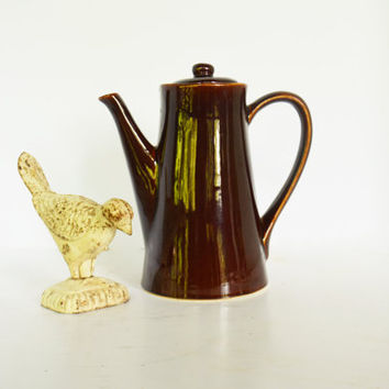 USA Pottery Coffee Pot,  Vintage Coffee Pot with Mirror Glaze, Brown Ware Tea Pot, Brown Serving