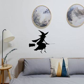 Halloween Witch Riding Broom 06 Vinyl Wall Decal - Removable (Indoor)