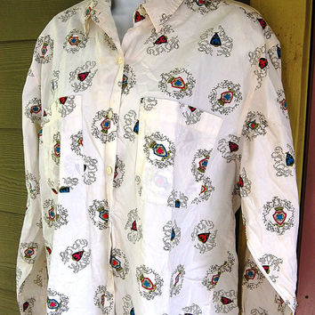 Vintage 80s Oversize Modern Crested Preppy Long Sleeve Dockers Shirt Top Blouse Size Medium