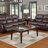 A.M.B. Furniture & Design :: Living room furniture :: Sofas and Sets :: Motion sofa sets :: 2 pc Cranley collection Brown bonded leather match upholstered double reclining sofa and love seat set.