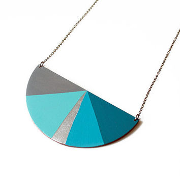 Half circle geometric wooden necklace - grey, water blue, silver, petrol blue - minimalist, modern jewelry - color blocking