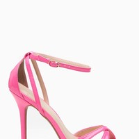 Neon Pink Faux Patent Leather Ankle Strap Cut Out Single Sole Heels @ Cicihot Heel Shoes online store sales:Stiletto Heel Shoes,High Heel Pumps,Womens High Heel Shoes,Prom Shoes,Summer Shoes,Spring Shoes,Spool Heel,Womens Dress Shoes