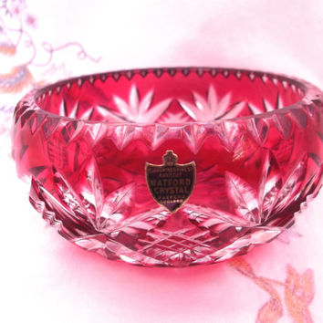 Cranberry /Ruby Cut to Clear Watford Lead Crystal Bowl with Original Label. Gift Idea Wedding, Birthday, Anniversary