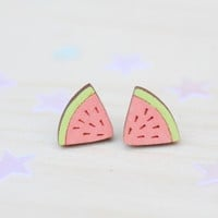 Wooden Watermelon Stud Earrings