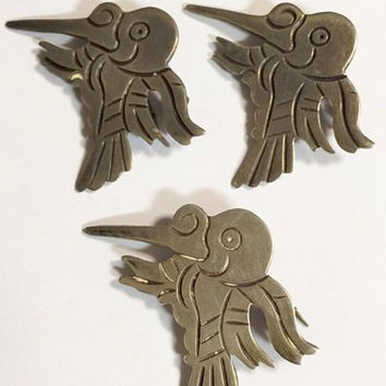 Vintage 980 Taxco Silver Hummingbird Brooches Set of 3