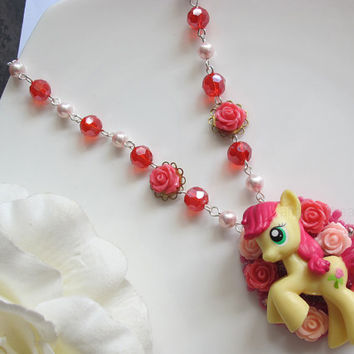 Best my little pony necklace products on wanelo full of roses roseluck my little pony pendant red faceted glass beads and swarovski pearls kawaii mozeypictures Images