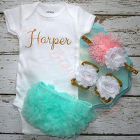 Baby Girl Take Home Outfit Newborn Baby Girl Custom Onesuit Bloomers Headband Sandals Set Mint Gold Baby Pink