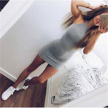 LMFOK8 2016 Women Dress Bandage Bodycon Sleeveless Dress Evening Sexy Party Mini Short Dress