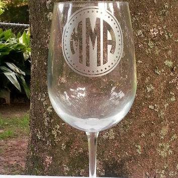 Monogrammed Etched Wine Glass, Personalized Beer Glass, Cocktail Glass