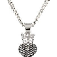 "King Baby 18"" Curb Link Chain with 3D Pave Black Cubic Zirconia Crowned Heart Pendant"