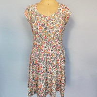 Vintage 1940's Rayon Dress 40s Floral Print Dress Short Summer Dress Flirty Rockabilly Sundress Size Medium Large Folk Day Dress