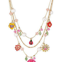 Betsey Johnson Necklace, Antique Gold-Tone Flower and Ladybug Charm Illusion Necklace - Fashion Jewelry - Jewelry & Watches - Macy's