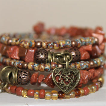 Wrap bracelet Memory Wire, natural stone chip beads, glass beads, charms