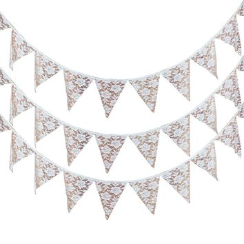Rose Lace12 Flags Vintage Wedding Pennant Banners for Wedding Birthday Baby Shower Party Decoration Supplies