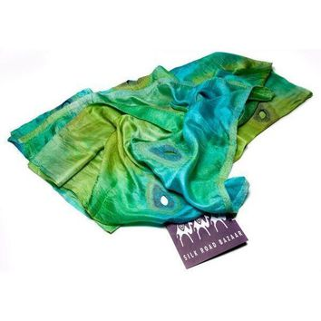 Peacock Feathers Felted Silk Scarf