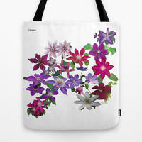 Cascade of Clematis tote bag, flower, garden, ornamental, vine, purple, red, lavender, pink, floral nature photograph, all occasion gift