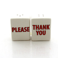 Mothers Day, Magic Words salt and pepper shakers, great gift for Mom, say Please and Thank You