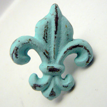Fleur de lis Cast Iron Drawer Pull / Knob / Cabinet Knobs Shabby Chic Distressed Rustic French Decor Beach Cottage Chic Blue