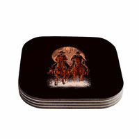 "BarmalisiRTB ""Come At Night"" Brown Orange Coasters (Set of 4)"