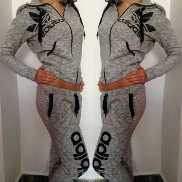 Adidas Fashion Drawstring Sport Gym Pants Coat Set Two-Piece Sportswear