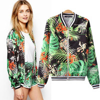 Tropical Forest Print Long Sleeve Jacket