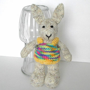 "Hand Knit Tweedy Bunny Rabbit - Stuffed Animal Baby Knit Toy Knit Animal Stuffed Toy Neon Easter Toy Bunny Nursery - Bunny Doll 10 1/2"" Tall"