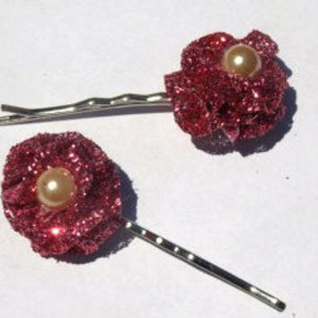 set of 2 pink sparkly bobby pins-spring hair accessories- flower hair pins