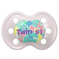 """Twin #1"" Floral Baby Girl Pacifier from Zazzle.com"