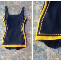 Vintage 40's swimsuit / navy blue yellow one piece, built in bra panties skirt / Ester Williams Regency glam / womens sm-med