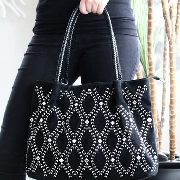 Open Diamond Front Braid Handle Purse
