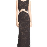 Women's Reem Acra Backless Bateau Neck Embroidered Lace Gown ,