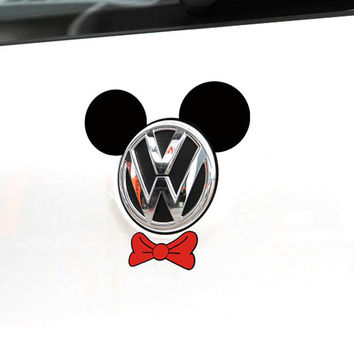 Cartoon Car Sticker Mickey Mouse Ear and Tie Accessories Funny Decal for Motorcycle Volkswagen Polo Golf 4 5 6 7 Skoda BMW