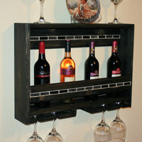 4+ Glass Wine Rack, Handmade Reclaimed Wood, Wine Bottle Holder Cherry Finish, Jewel Tile Inlay Mosiac