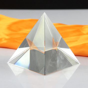 Clear Rare Quartz Crystal Glass ancient egyptian Craft Pyramid Paperweight Sparkle Crystals egypt Piramide Figurines Ornament