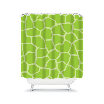 Shower Curtain CUSTOM You Choose Colors Giraffe Pattern Lime Green Bathroom Bath Polyester Made in the USA