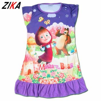ZIKA Masha and Bear Girls Dresses 2017 Summer Polyester Character Girls Nightgown Cute 3-10T Children Girl Beach Dress C10