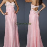 2014 pink chiffon prom gowns with beads,floor length elegant dress for holiday party,cheap evening dresses,stunning homecoming dress.