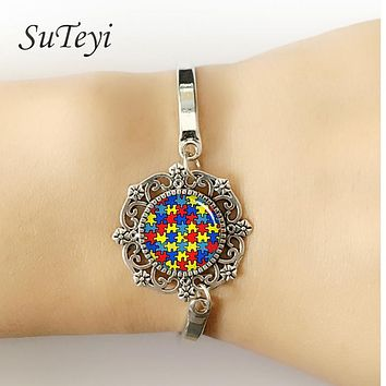 Autism Awareness Puzzle Pieces Heart Bracelets Women Jewelry Take Care Of Autism