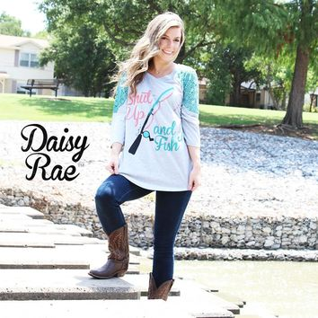 Shut Up and Fish on Grey with Teal Half Lace Accent